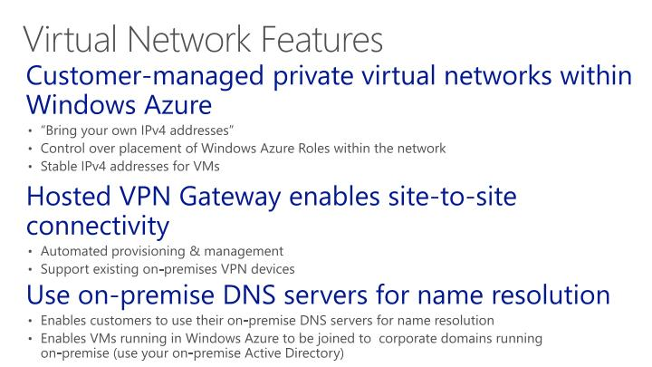 Customer-managed private virtual networks within Windows Azure