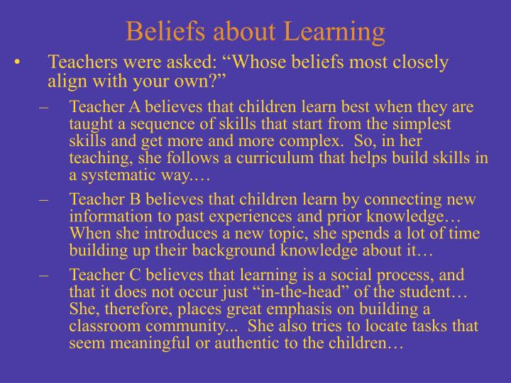 Beliefs about Learning