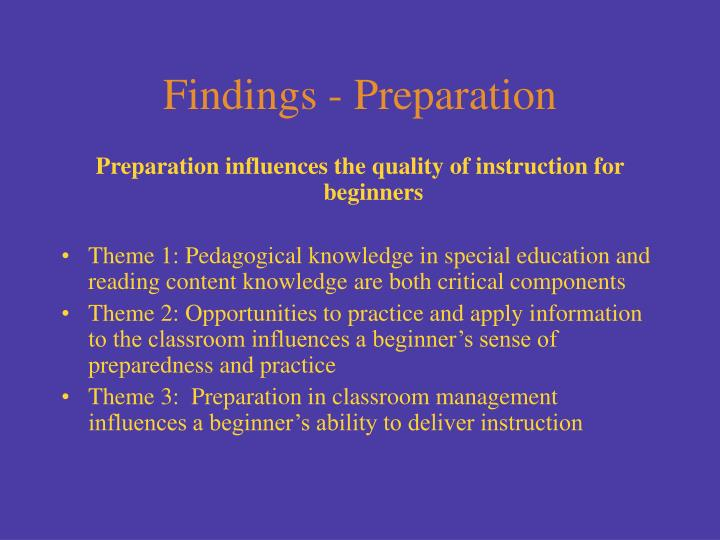 Findings - Preparation