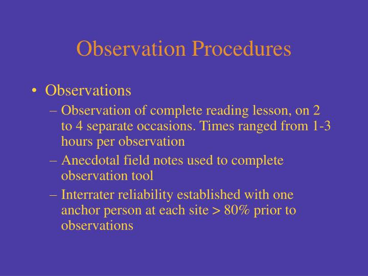 Observation Procedures