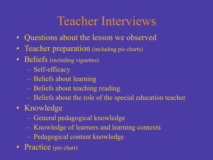 Questions about the lesson we observed