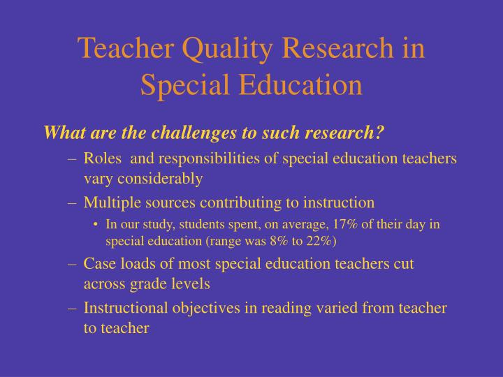 Teacher Quality Research in Special Education