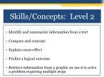 skills concepts level 21