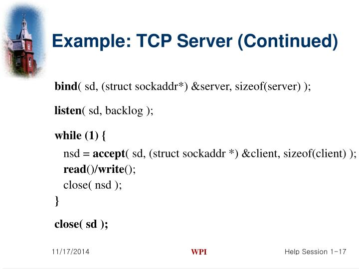 Example: TCP Server (Continued)