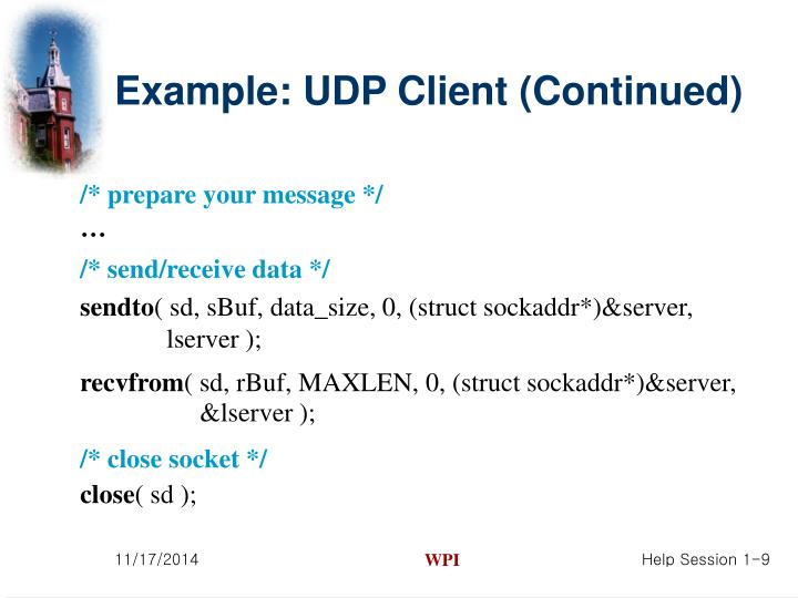 Example: UDP Client (Continued)