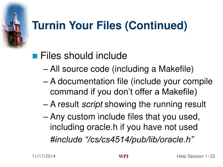 Turnin Your Files (Continued)
