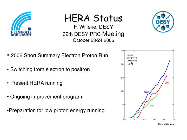 hera status f willeke desy 62th desy prc meeting october 23 24 2006 n.