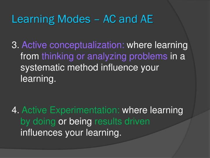 Learning Modes – AC and AE
