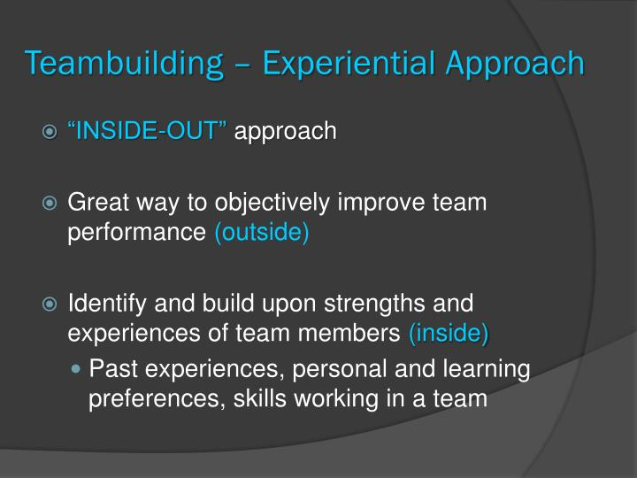 Teambuilding – Experiential Approach