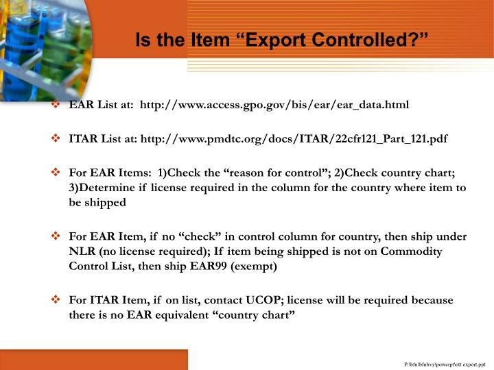 """Is the Item """"Export Controlled?"""""""