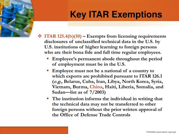 Key ITAR Exemptions