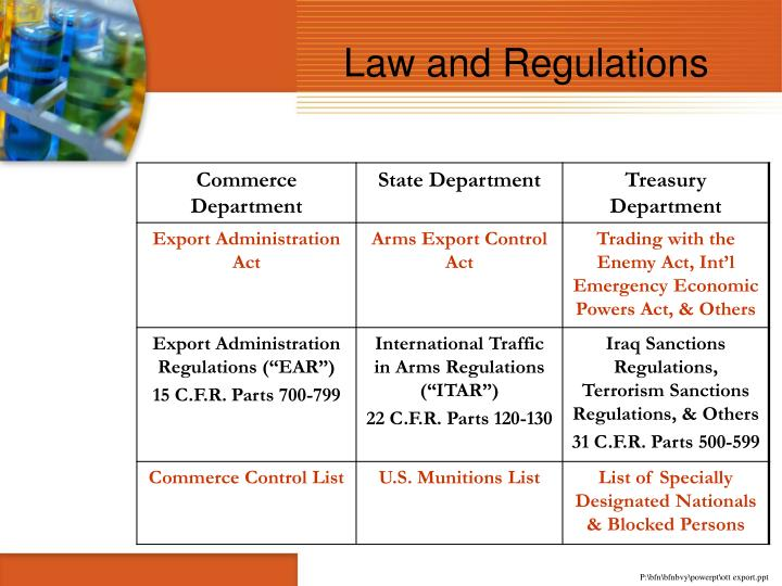 Law and Regulations
