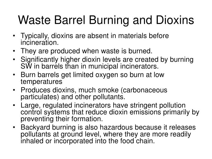 Waste Barrel Burning and Dioxins