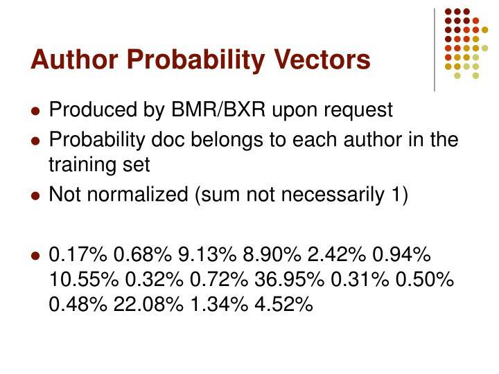 Author Probability Vectors