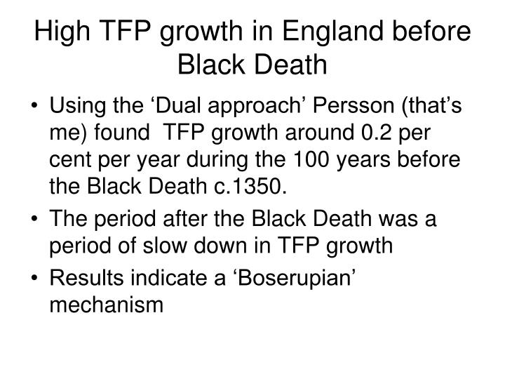 High TFP growth in England before Black Death