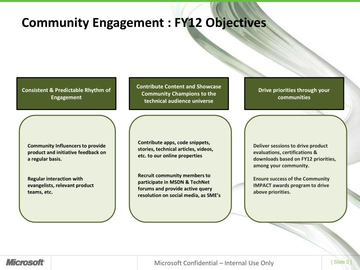 Community engagement fy12 objectives