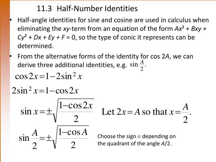 11.3Half-Number Identities