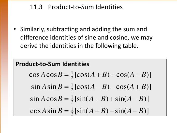 11.3 Product-to-Sum Identities