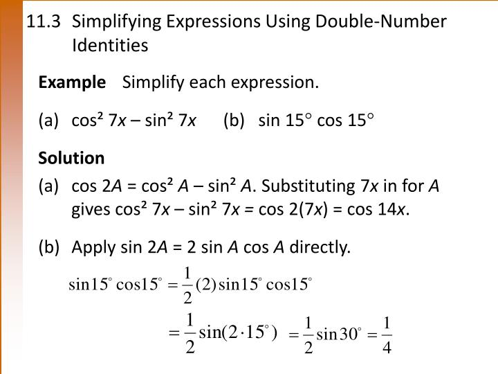 11.3Simplifying Expressions Using Double-NumberIdentities