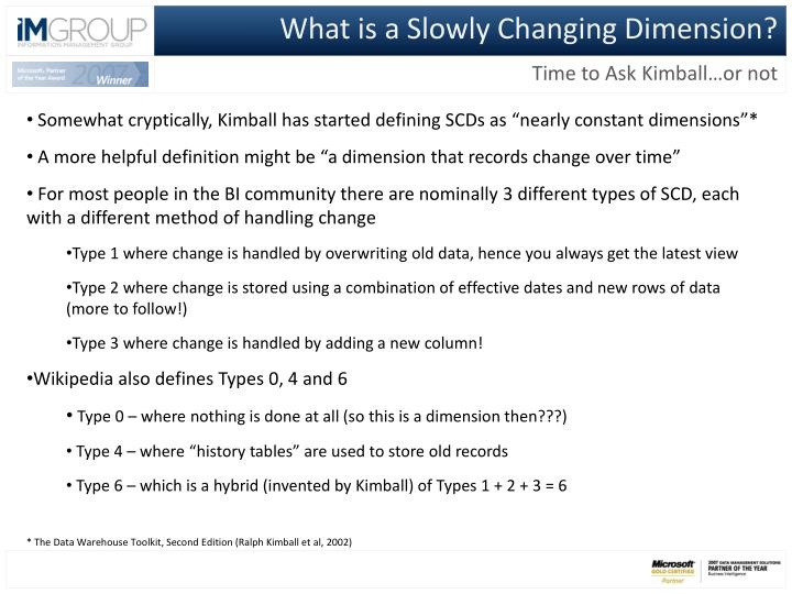 What is a Slowly Changing Dimension?