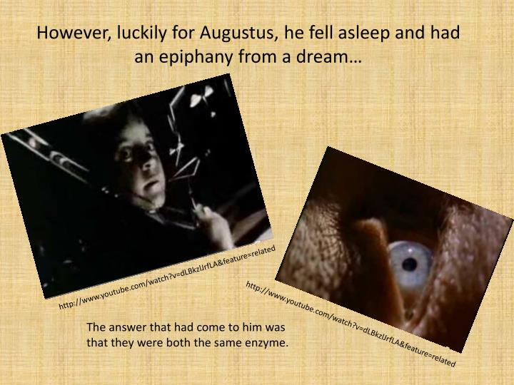 However, luckily for Augustus, he fell asleep and had an epiphany from a dream…
