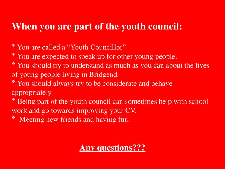 When you are part of the youth council: