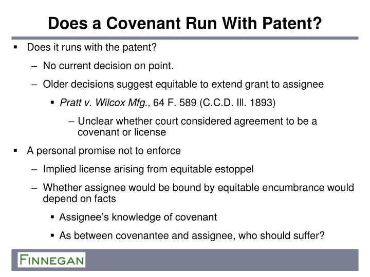Does a Covenant Run With Patent?
