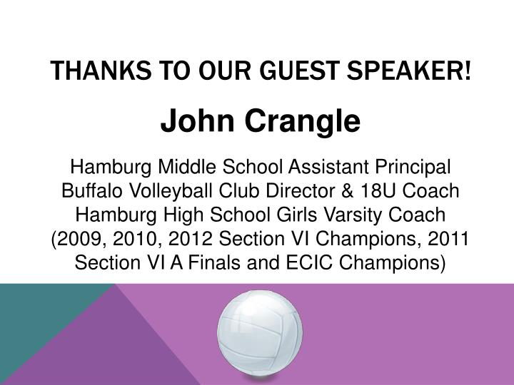 THANKS TO our guest speaker!