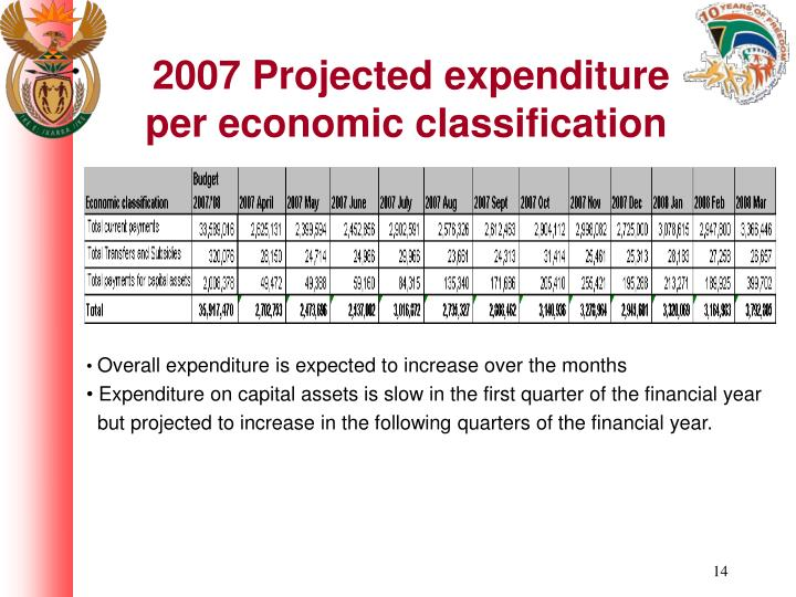 2007 Projected expenditure per economic classification