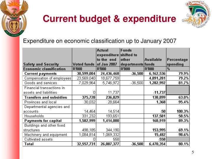 Current budget & expenditure
