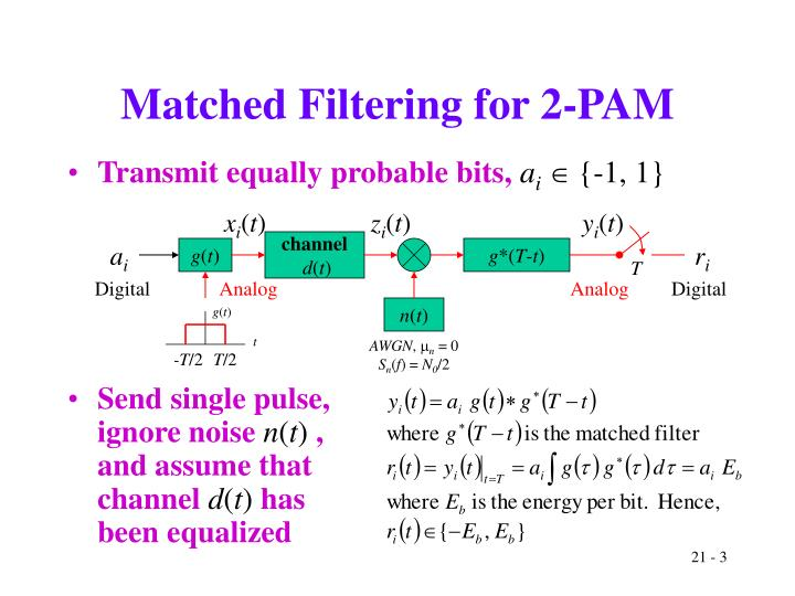 Matched filtering for 2 pam