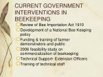 current government interventions in beekeeping