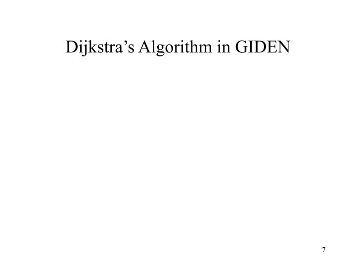 Dijkstra's Algorithm in GIDEN
