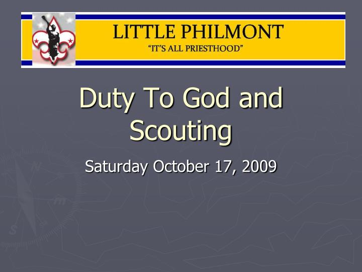 Duty to god and scouting