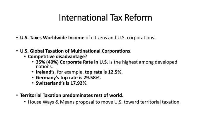 International tax reform