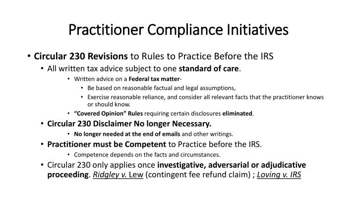 Practitioner Compliance Initiatives