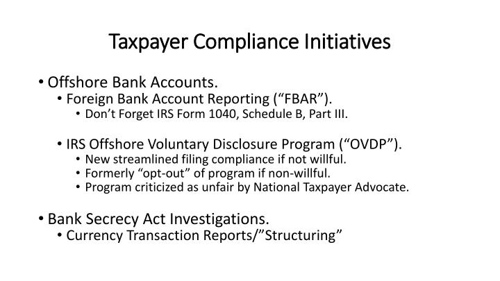 Taxpayer Compliance Initiatives