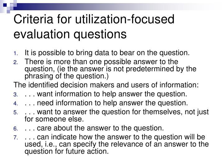 Criteria for utilization-focused evaluation questions