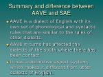summary and difference between aave and sae