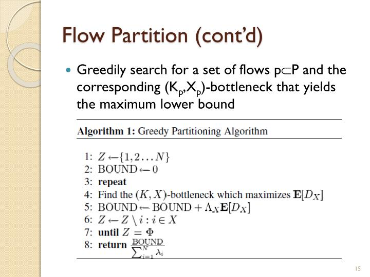 Flow Partition (cont'd)