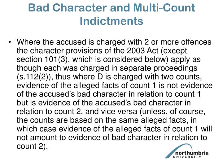 Bad Character and Multi-Count Indictments