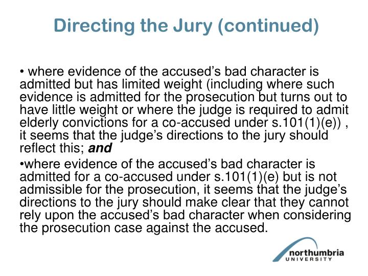 Directing the Jury (continued)