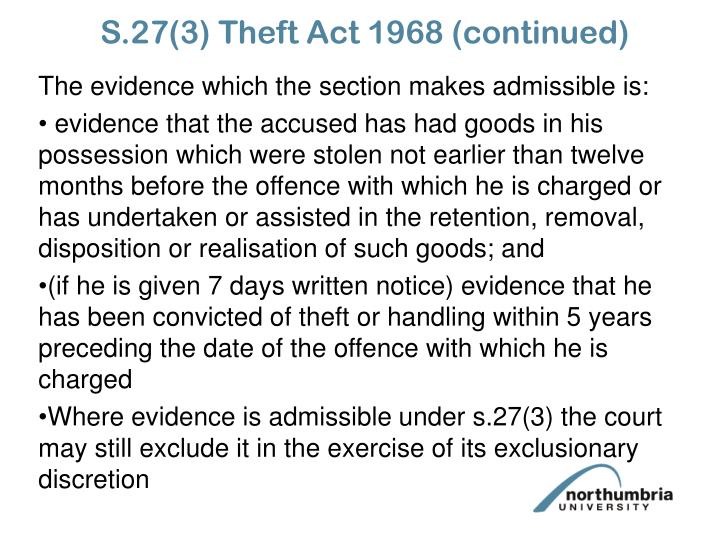 S.27(3) Theft Act 1968 (continued)