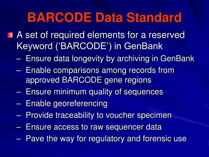 BARCODE Data Standard