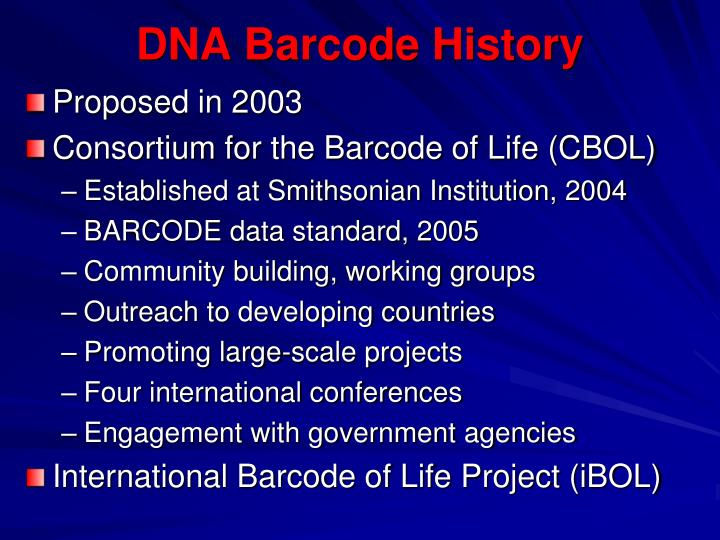 DNA Barcode History
