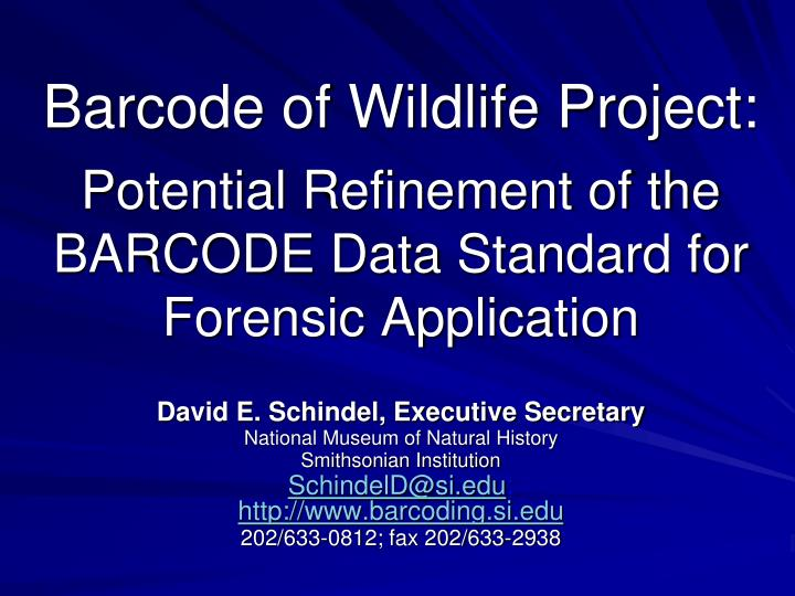 Barcode of Wildlife Project: