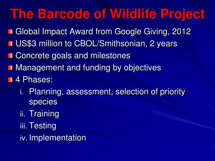 The Barcode of Wildlife Project