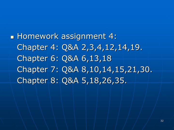 Homework assignment 4: