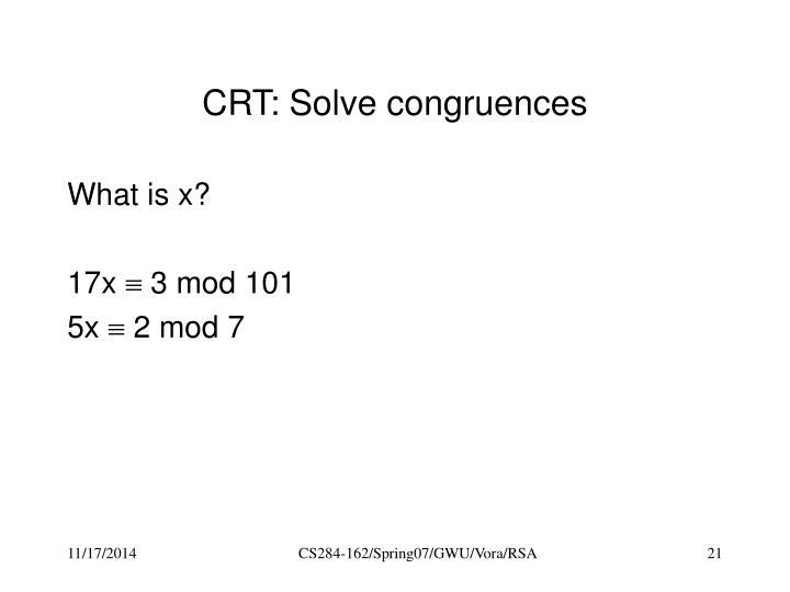 CRT: Solve congruences