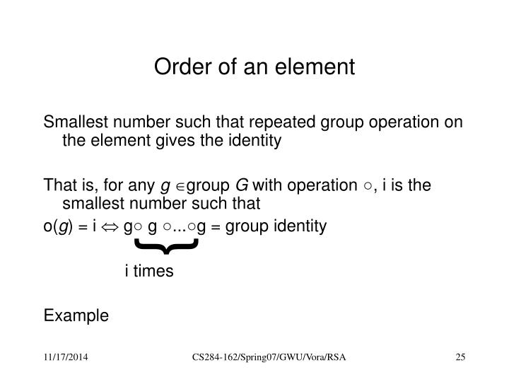 Order of an element